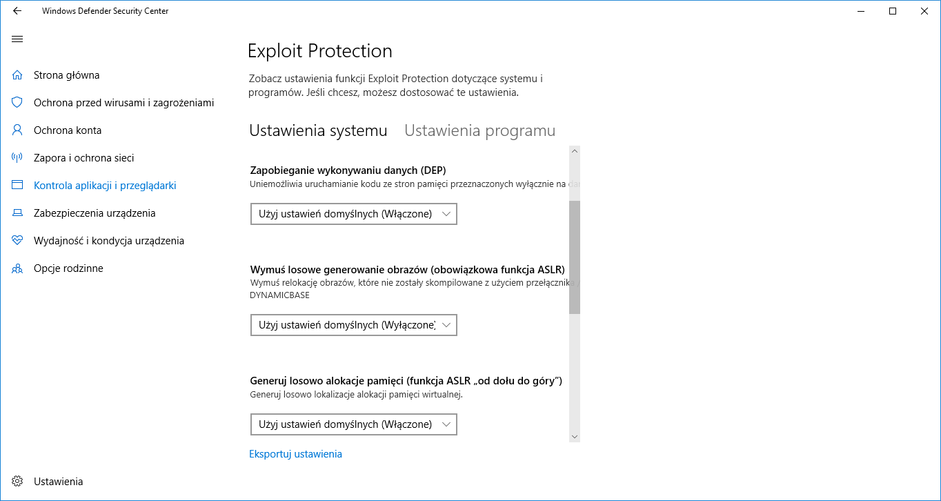 Windows Defender Exploit Protection