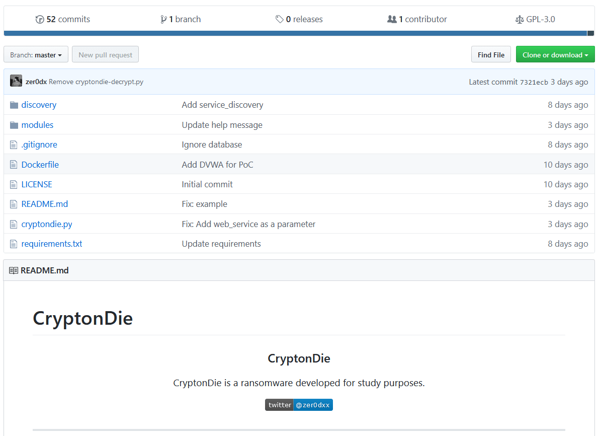 CryptonDie ransomware na GitHub.
