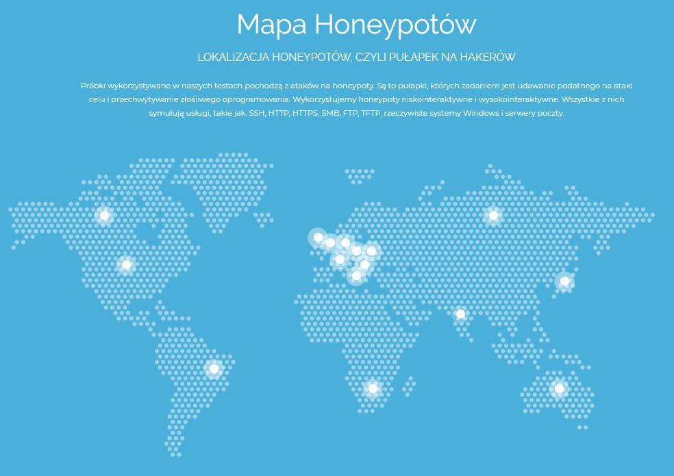 Mapa naszych honeypotów.