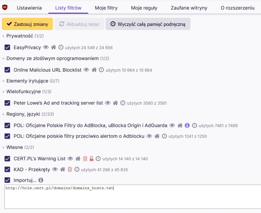 uBlock Origin - importowanie listy