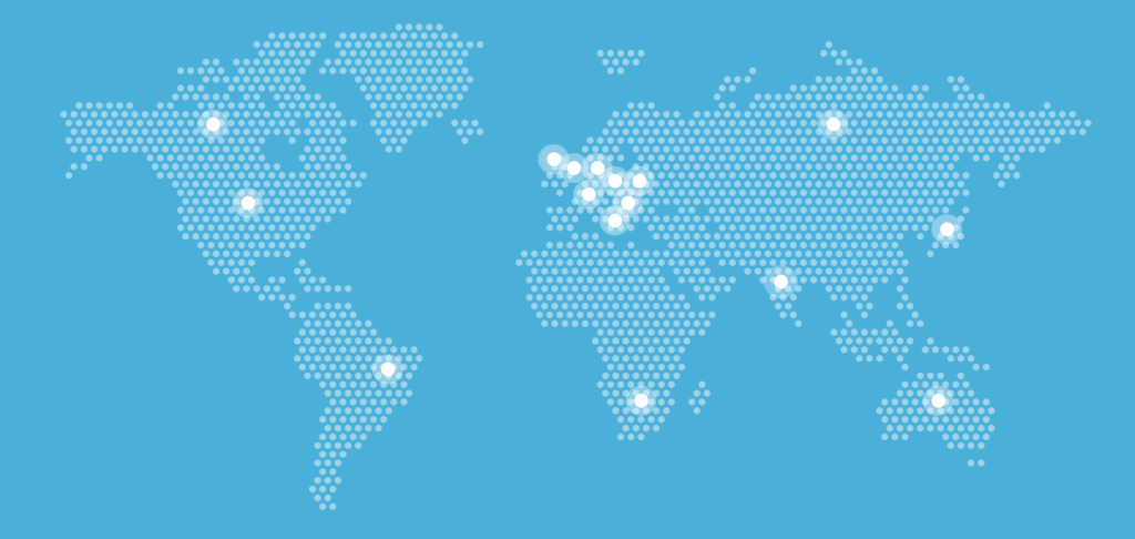 The map points out location of servers which serves as honeypots.