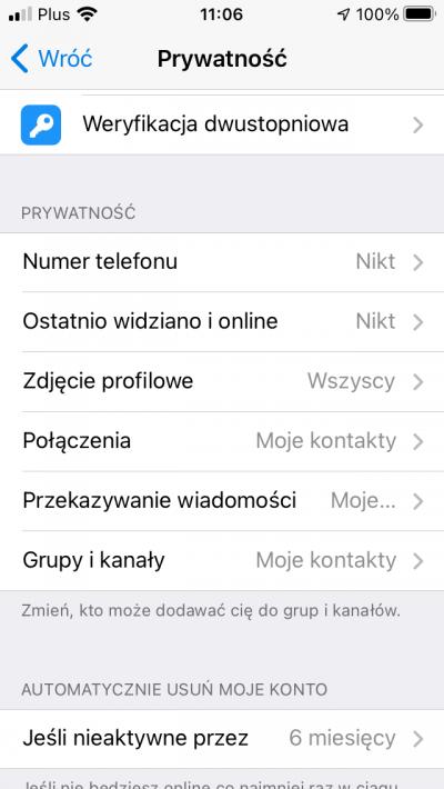 telegram ustawienia prywatności ibezpieczeństwo